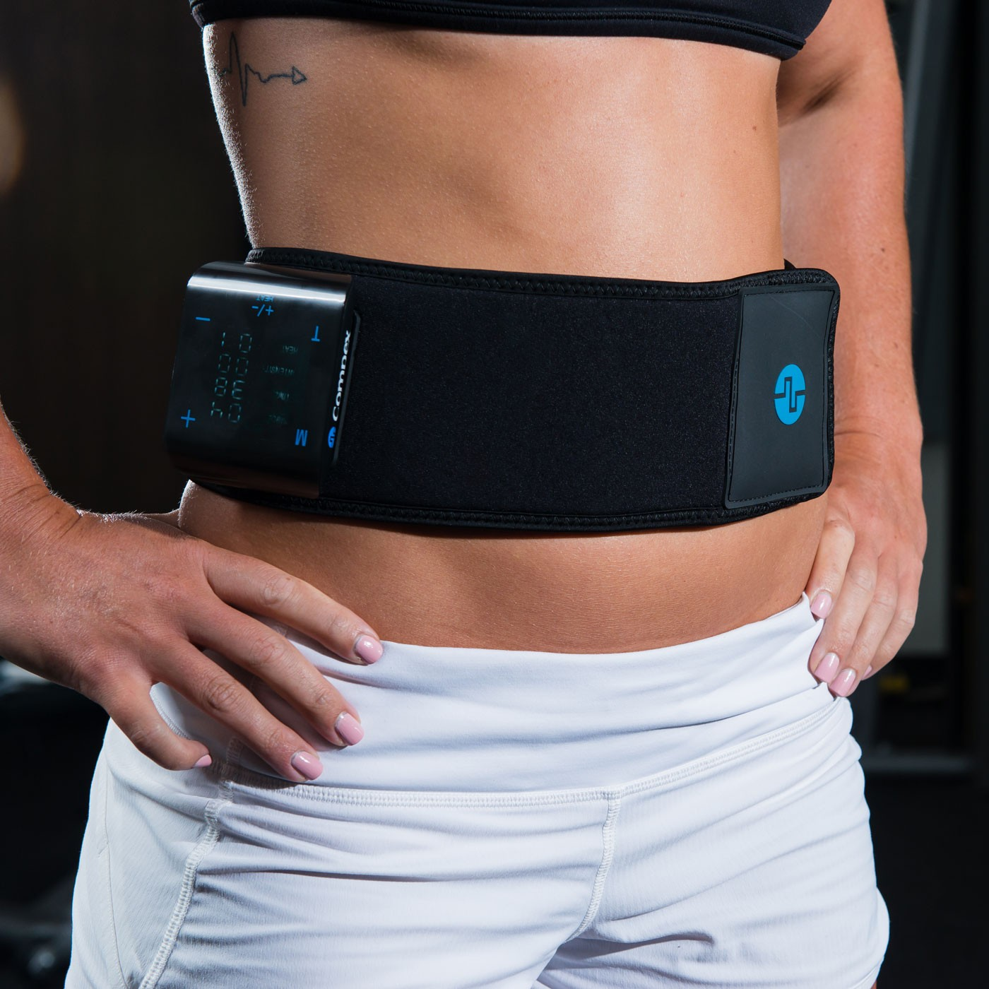 Compex TENS/HEAT Back Wrap - On Skin