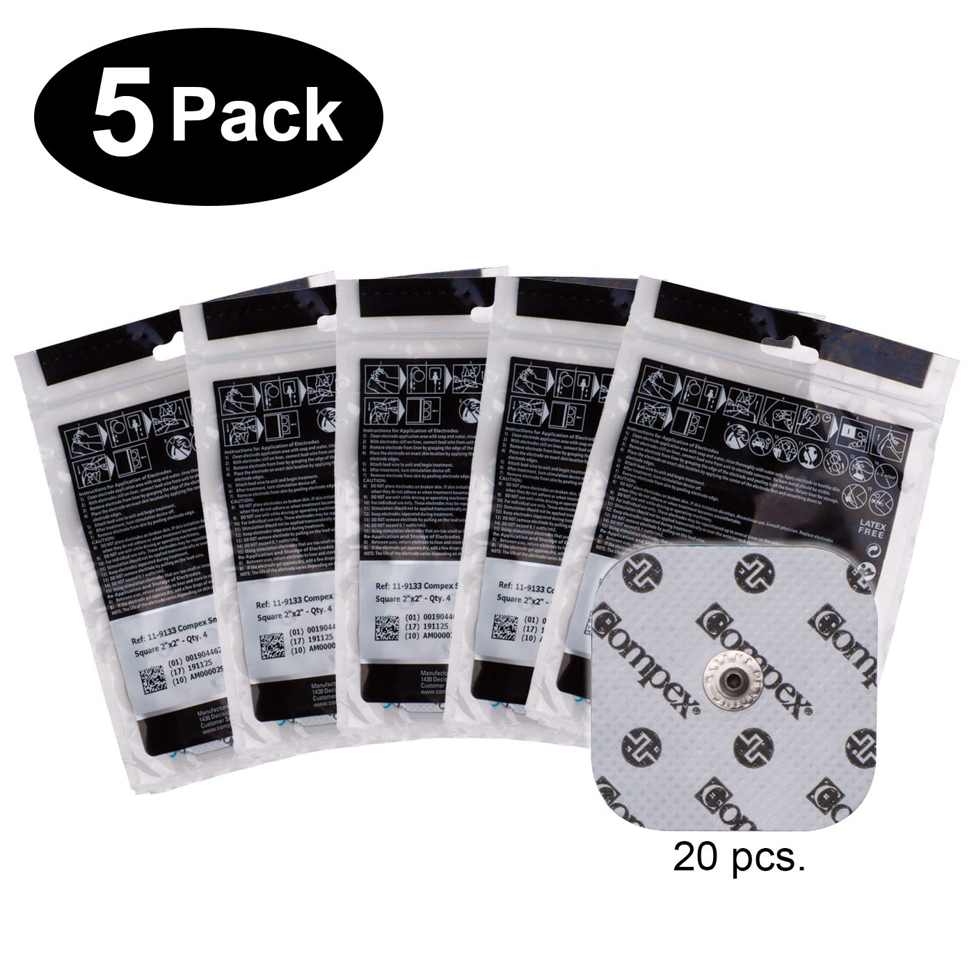 COMPEX EASY SNAP ELECTRODES 2IN X 2IN - 5 PACK (20 ELECTRODES) - WHITE