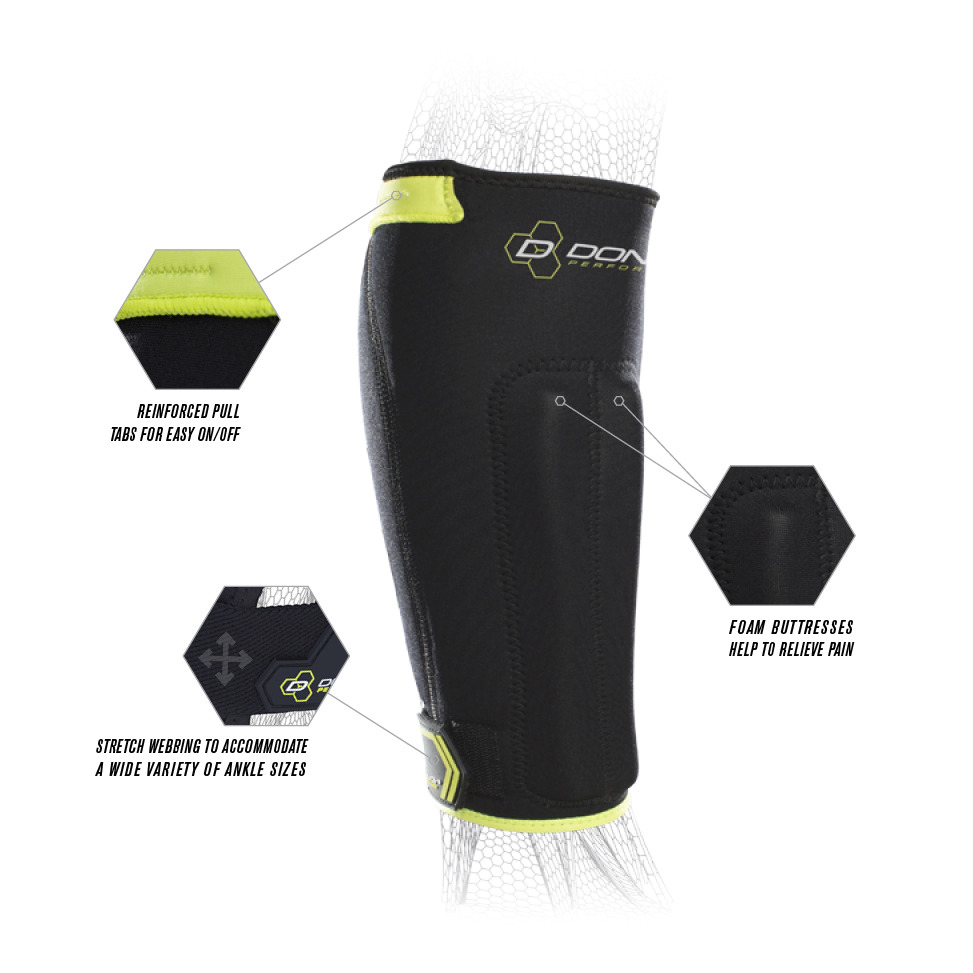 ffaef20c06b56f The neoprene sleeve with vertical foam buttress pads offers thermal  compression and pain relief while stretch webbing ankle closure system  allows for ...