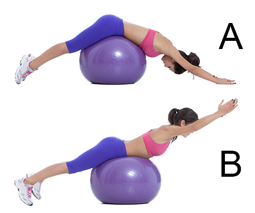 back extension exercise on stability ball