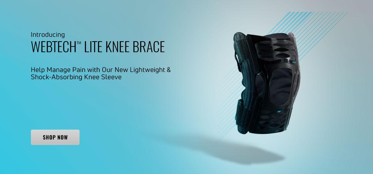 DONJOY® ADVANTAGE WEBTECH™ LITE KNEE BRACE - Photo of brace floating over a blue to white gradient