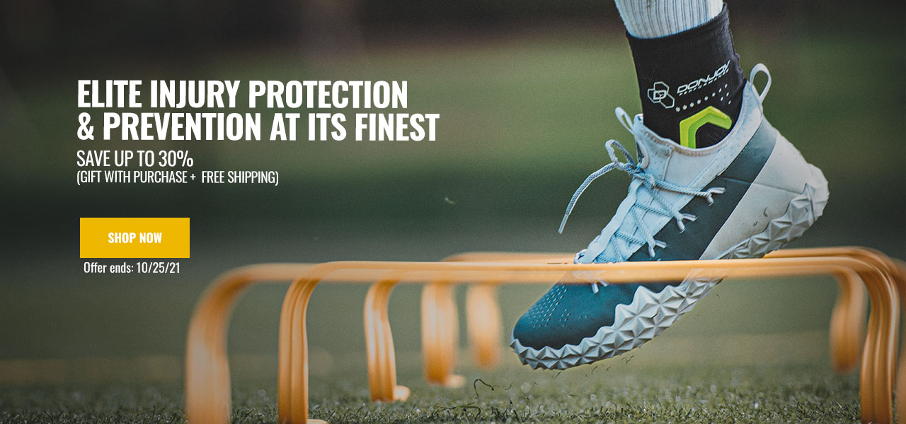 Elite Injury Protection and Prevention - Save up to 30% - athlete wearing an knee brace
