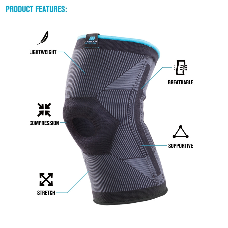 4c3a9a8774 DonJoy Advantage Deluxe Elastic Knee Sleeve Compression Brace