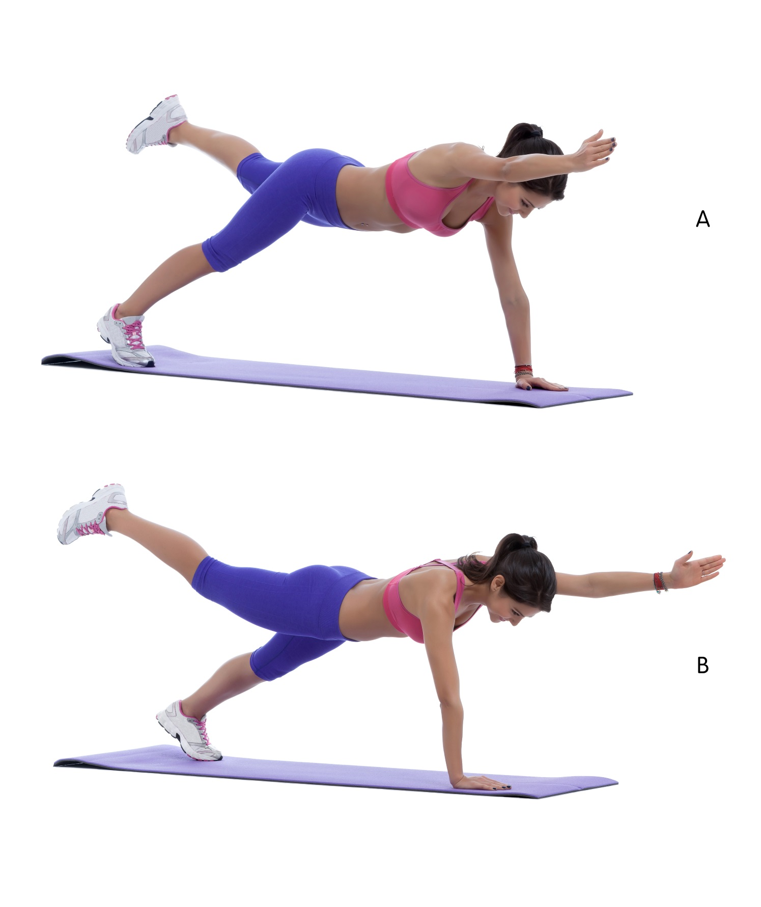 single arm and leg plank balance